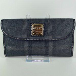 Dooney & Bourke Leather Flap Wallet Black Plaid